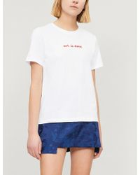 Izzue - Slogan-embroidered Cotton-jersey T-shirt - Lyst