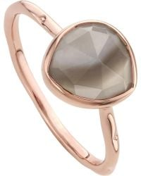 Monica Vinader - Siren 18ct Rose Gold Vermeil And Grey Agate Stacking Ring - Lyst