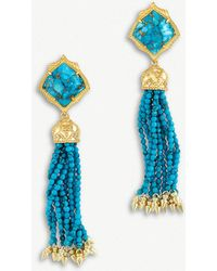 Kendra Scott - Misha 14ct Gold-plated Bronze Veined Turquoise Magnesite Earrings - Lyst