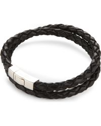 Tateossian - Double-wrap Scoubidou Leather And Sterling Silver Bracelet - Lyst