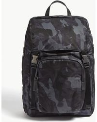 7497a19cdfedfe Prada - Navy Blue Camouflage Backpack - Lyst