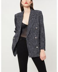 The Kooples - Double-breasted Cotton-blend Woven Blazer - Lyst
