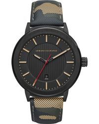 Armani Exchange - Ax1460 Camouflage Leather Strap Watch - Lyst