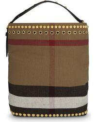 Burberry - Medium Ashby Studded Cotton Bucket Bag - Lyst