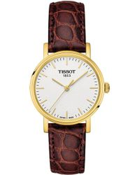 Tissot - T109.210.36.031.00 Everytime Gold-plated Stainless Steel And Leather Watch - Lyst