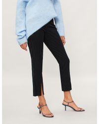 FRAME - Split-hem Striped Velvet Trousers - Lyst