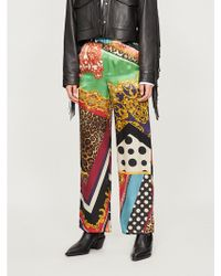 The Kooples - Printed Relaxed-fit Silk Trousers - Lyst