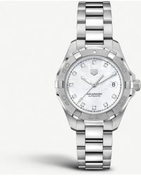 9884f589842 Lyst - Tag Heuer Aquaracer Black Mother Of Pearl Dial Ladies Watch ...