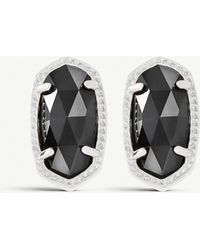 Kendra Scott - Ellie 14ct Silver-plated Black Opaque Glass Stud Earrings - Lyst
