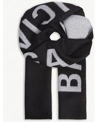 Balenciaga - Ladies Black And White Logo Jacquard Wool Scarf - Lyst
