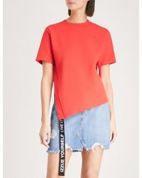 Izzue - Slit And Tape Cotton-jersey T-shirt - Lyst