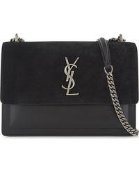 39e85aa97dbd Lyst - Saint Laurent Monogram Sunset Leather And Suede Shoulder Bag ...