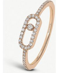 Messika - Move Uno 18ct Pink-gold And Pavé Diamond Ring - Lyst