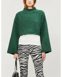 Free People - Lost In A Forest Cropped Funnel-neck Knitted Jumper - Lyst