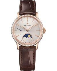Zenith - 22.2330.692/01.c713 Elite Lady Moonphase Alligator-leather And Diamond Watch - Lyst