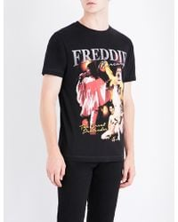 Tribute Collection - Freddie Mercury-print Cotton-jersey T-shirt - Lyst