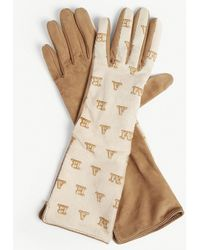 Max Mara - Logo Leather And Suede Gloves - Lyst