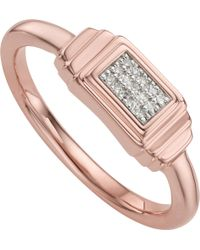 Monica Vinader - Baja Deco 18ct Rose Gold And Diamond Ring - Lyst