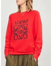 Loewe - Anagram-embroidered Cotton Sweatshirt - Lyst