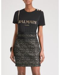 Balmain - Womens Black Metallic Logo-print Cotton-jersey Short Sleeve T-shirt - Lyst