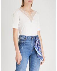 Sandro - Lace-trim Cotton-jersey T-shirt - Lyst