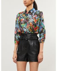 904e6f497c3a27 The Kooples - Metallic And Floral Silk-chiffon Shirt - Lyst