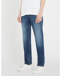 True Religion - Geno Super T Contrast-stitching Faded Slim-fit Jeans - Lyst