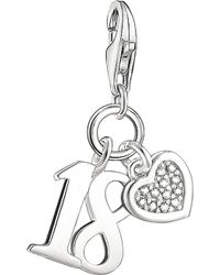 Thomas Sabo - Lucky Number 18 Sterling Silver And Diamond Charm - Lyst