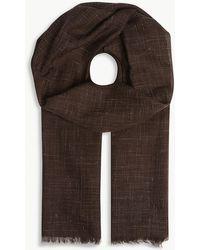 Corneliani - Check Pattern Silk And Cashmere Scarf - Lyst
