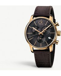 CALVIN KLEIN 205W39NYC - K2g276g3 City Pvd Rose Gold-plated Leather Strap Chronograph Watch - Lyst