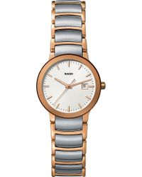 Rado - R30555103 Centrix Rose Gold And Stainless Steel Watch - Lyst