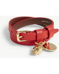 Alexander McQueen - Double-wrap Leather Bracelet - Lyst