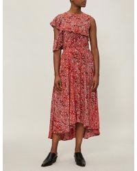 Maje - Rivele Cold-shoulder Floral-print Crepe Midi Dress - Lyst