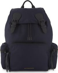 Burberry - Navy Blue Leather Rucksack - Lyst