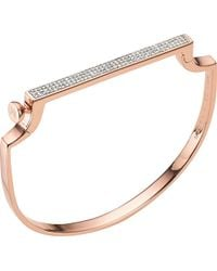 Monica Vinader - Signature Diamond And 18ct Rose Gold-plated Bangle - Lyst