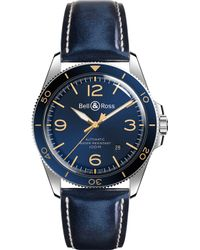 Bell & Ross - Brv292bugstsca Vintage Br Steel And Leather Strap Watch - Lyst