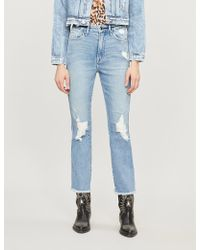 GOOD AMERICAN - Good Waist Distressed High-rise Jeans - Lyst