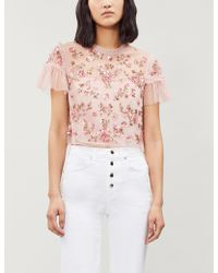 Needle & Thread - Ladies Rose Pink Carnation Sequin Tulle Cropped Top - Lyst