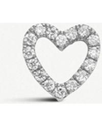 Loquet London - Diamond Heart 18ct White-gold And Diamond Charm - Lyst