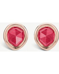 Monica Vinader - Siren Mini 18ct Rose-gold Vermeil And Pink Quartz Stud Earrings - Lyst