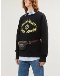 fa1a03c1ced Gucci Tiger Embroidered Sweatshirt in Black for Men - Lyst