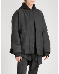 Moohong   Pleated Wool And Satin Bomber Jacket   Lyst