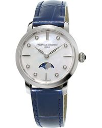 Frederique Constant - Fc206mpwd1s6 Slimline Moonphase Stainless Steel And Crococalf-leather Watch - Lyst