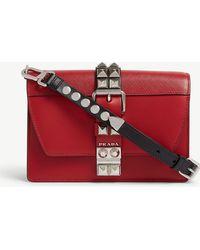 211d9e457721 Prada Elektra Studded Leather Shoulder Bag in Red - Lyst