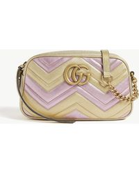 8622e7189714 Gucci - Women's Gold And Pink Zigzag GG Marmont Metallic Quilted Leather  Shoulder Bag - Lyst