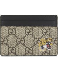 Gucci - Bestiary Leather Card Holder - Lyst