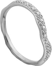 Monica Vinader | Riva Wave Stacking Sterling Silver Pavé Diamond Ring | Lyst