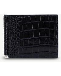 Smythson - Mara Croc-embossed Leather Money Clip Wallet - Lyst