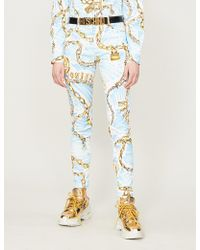 Moschino - Chain-print Mid-rise Skinny Jeans - Lyst
