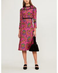 Sandro - Lace-panelled Printed Silk Midi Dress - Lyst
